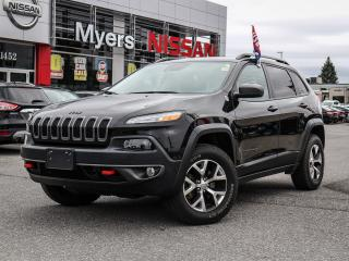 Used 2017 Jeep Cherokee 4x4 Trailhawk leather, heated and cooling seats, nav, reverse camera, heated steering, electric seat, lumbar support, Bluetooth, tilt steering for sale in Orleans, ON