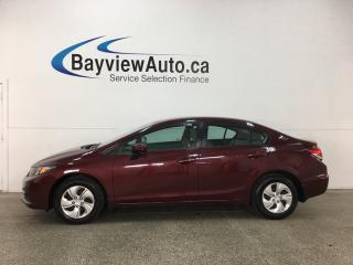 Used 2015 Honda Civic LX - ECO MODE! HTD SEATS! A/C! REV CAM! BLUETOOTH! CRUISE! for sale in Belleville, ON