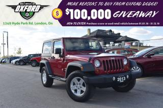 Used 2013 Jeep Wrangler Sport - 4x4, One Owner, Hard and Soft Top for sale in London, ON