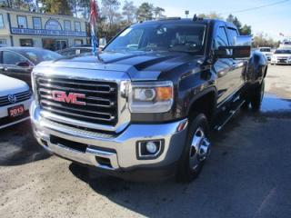 Used 2015 GMC Sierra 3500 1-TON DIESEL SLT EDITION 5 PASSENGER 6.6L - DURAMAX.. 4X4.. CREW.. SHORTY.. LEATHER.. HEATED/AC SEATS.. NAVIGATION.. BACK-UP CAMERA.. BLUETOOTH.. for sale in Bradford, ON
