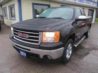 Used 2013 GMC Sierra 1500 LOADED SLT MODEL 5 PASSENGER 5.3L - V8.. 4X4.. EXT-CAB.. SHORTY.. LEATHER.. HEATED SEATS.. BOSE AUDIO.. POWER MIRRORS AND PEDALS.. for sale in Bradford, ON