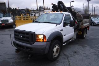 Used 2005 Ford F-550 Regular Cab 2WD Diesel Power Tail Gate, Crane Dump Truck for sale in Burnaby, BC