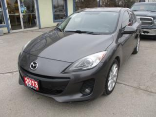 Used 2013 Mazda MAZDA3 6-SPEED MANUAL TOURING EDITION 5 PASSENGER 2.5L - DOHC.. LEATHER.. HEATED SEATS.. POWER SUNROOF.. NAVIGATION SYSTEM.. for sale in Bradford, ON