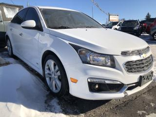 Used 2015 Chevrolet Cruze RS LTZ! Loaded with Sunroof, Leather, Heated Seats, BackupCam, AUTOSTART, Bluetooth and More! for sale in Kemptville, ON
