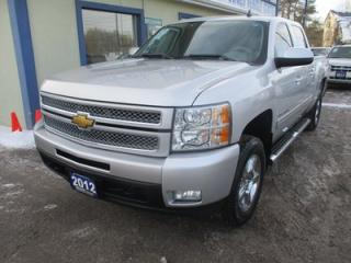 Used 2012 Chevrolet Silverado 1500 LOADED LTZ MODEL 5 PASSENGER 5.3L - V8.. 4X4.. CREW.. SHORTY.. LEATHER.. HEATED SEATS.. BOSE AUDIO.. POWER SUNROOF.. BACK-UP CAMERA.. for sale in Bradford, ON