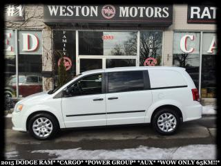 Used 2015 Dodge Ram Van CARGO*POWER GROUP*AUX*WOW ONLY 65KM!!* for sale in Toronto, ON