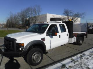 Used 2008 Ford F-450 SD Crew Cab 12 Foot Flat Deck 4WD Dually With Power Tail Gate and Crane Diesel for sale in Burnaby, BC