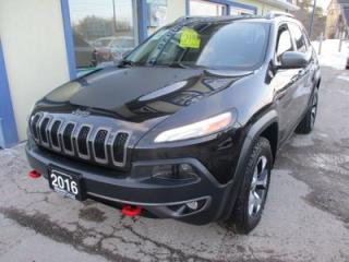 Used 2016 Jeep Cherokee LOADED TRAIL-HAWK EDITION 5 PASSENGER 3.2L - V6.. 4X4.. LEATHER.. HEATED/AC SEATS.. NAVIGATION.. BACK-UP CAMERA.. BLUETOOTH SYSTEM.. for sale in Bradford, ON