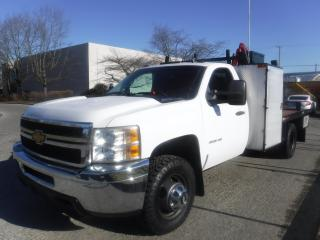 Used 2011 Chevrolet Silverado 3500HD Flat Deck 7.8 feet plus Crane and service box  4WD Diesel for sale in Burnaby, BC