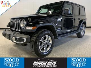 Used 2018 Jeep Wrangler Unlimited Sahara JL TRIM, 8 SPEED WITH HEATED LEATHER SEATS, NAVIGATION, CLEAN CARFAX. for sale in Calgary, AB