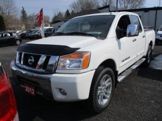 Used 2012 Nissan Titan LOADED SL MODEL 5 PASSENGER 5.6L - V8.. 4X4.. CREW.. SHORTY.. LEATHER.. HEATED SEATS.. NAVIGATION.. SUNROOF.. POWER REAR WINDOW.. for sale in Bradford, ON