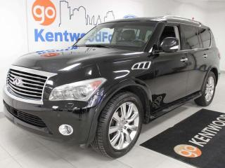 Used 2012 Infiniti QX56 QX56 4WD SUV with NAV, heated/cooled power leather seats, heated steering wheel, rear DVD entertainment, power liftgate, back up cam for sale in Edmonton, AB