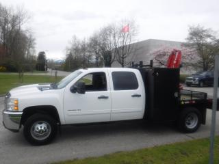 Used 2012 Chevrolet Silverado 3500HD Crew Cab 4WD flat deck with crane for sale in Burnaby, BC