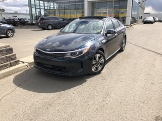 Used 2019 Kia Optima Hybrid EX Premium wireless phone charger, panoramic sunroof, leather, heated steering wheel for sale in Red Deer, AB