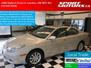 Used 2004 Lexus ES 330 Rust Proofed+Leather+New Timing Belt & Water Pump for sale in London, ON