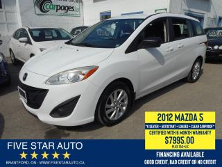 Used 2012 Mazda MAZDA5 GS *Clean Carproof* Certified w/ 6 Month Warranty for sale in Brantford, ON