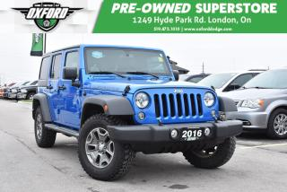 Used 2016 Jeep Wrangler Unlimited Rubicon - Manual, Hard & Soft Top, Alpine Speaker for sale in London, ON