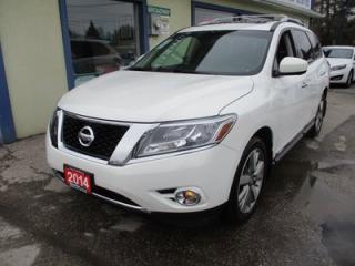 Used 2014 Nissan Pathfinder FOUR-WHEEL DRIVE PLATINUM MODEL 7 PASSENGER 3.5L - V6.. BENCH & 3RD ROW.. LEATHER.. HEATED/AC SEATS.. NAVIGATION.. DUAL DVD PLAYER.. SUNROOF.. for sale in Bradford, ON