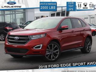 Used 2018 Ford Edge SPORT AWD CUIR TOIT for sale in Victoriaville, QC