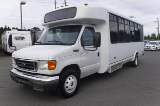 Used 2005 Ford Econoline E-450 22 Passenger Bus Diesel with Rear Cargo Space for sale in Burnaby, BC