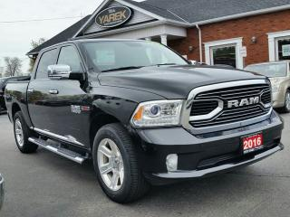 Used 2016 RAM 1500 Limited 4x4 Ecodiesel, Leather Heated/Vented Seats, NAV, Sunroof, Air Suspension, Tonneau, Spray In Liner for sale in Paris, ON