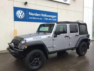 Used 2016 Jeep Wrangler Unlimited WILLYS 4X4 6SPD M/T for sale in Edmonton, AB