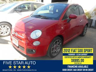 Used 2012 Fiat 500 S *Clean Carproof* Certified w/ 6 Month Warranty for sale in Brantford, ON