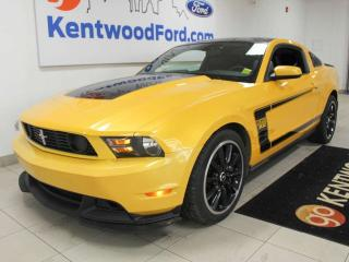 Used 2012 Ford Mustang GT BOSS 302 RWD coupe 6-SPD manual in bright and bold yellow for sale in Edmonton, AB