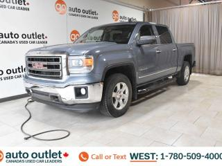Used 2015 GMC Sierra 1500 SLT, CREWCAB, 4X4, POWER WINDOWS & SEATS, STEERING WHEEL CONTROLS, CRUISE CONTROL, A/C, HEATED FRONT SEATS, AM/FM RADIO, SATELLITE RADIO, BLUETOOTH, BACKUP CAMERA for sale in Edmonton, AB