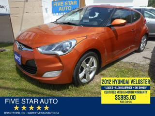 Used 2012 Hyundai Veloster DCT *Clean Carproof + 1 Own* Certified w/ Warranty for sale in Brantford, ON
