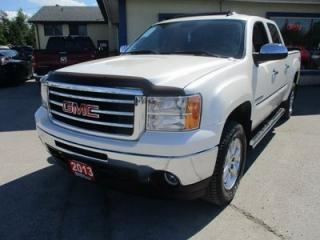 Used 2013 GMC Sierra 1500 LOADED SLT MODEL 5 PASSENGER 5.3L - VORTEC.. 4X4.. CREW.. SHORTY.. LEATHER.. HEATED/AC SEATS.. POWER SUNROOF.. BOSE AUDIO.. POWER MIRRORS.. for sale in Bradford, ON