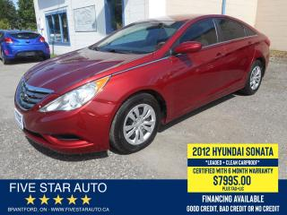 Used 2012 Hyundai Sonata GL *Clean Carproof* Certified w/ 6 Month Warranty for sale in Brantford, ON