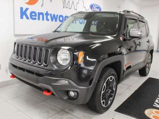 Used 2016 Jeep Renegade Trailehawk 4x4 with sunroof, heated power leather seats, heated steering wheel and a back up cam for sale in Edmonton, AB