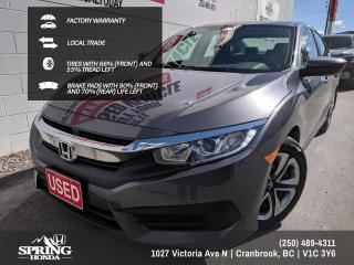 Used 2018 Honda Civic LX FACTORY WARRANTY, 2 SETS OF KEYS, GREAT ON GAS, LOCAL TRADE - $123 BI-WEEKLY - $0 DOWN for sale in Cranbrook, BC
