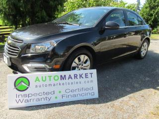 Used 2015 Chevrolet Cruze LT, MINT, INSPECTED, BCAA MBSHP, WARR, FINANCING! for sale in Surrey, BC