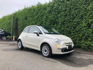 Used 2012 Fiat 500 LOUNGE + LEATHER HEATED FT SEATS + SUNROOF + RR PARK ASSIST + NO EXTRA DEALER FEES for sale in Surrey, BC