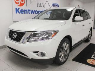 Used 2015 Nissan Pathfinder Platinum 4WD with a sunroof, heated/cooled power leather seats, rear DVD entertainment system, back up cam, power liftgate for sale in Edmonton, AB