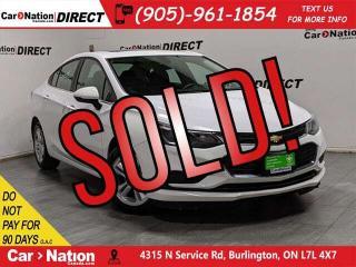 Used 2018 Chevrolet Cruze LT| SUNROOF| BACK UP CAM & SENSORS| PUSH START| for sale in Burlington, ON