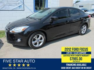 Used 2012 Ford Focus SE *Clean Carproof* Certified w/ 6 Month Warranty for sale in Brantford, ON