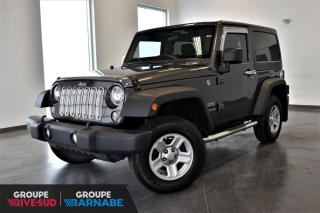 Used 2016 Jeep Wrangler SPORT + MANUEL + CLIMATISATION + DEUX TO for sale in St-Jean-Sur-Richelieu, QC