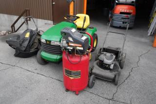 Used 2000 John Deere Lt166 Mower 22 inch 6.5 HP quantum, Air Compressor and Pressure Washer for sale in Burnaby, BC