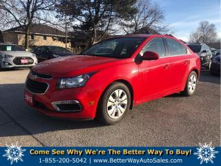 Used 2015 Chevrolet Cruze 1LT| $64 weekly (oac) | Backup Cam| Low KMS! for sale in Stoney Creek, ON