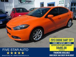Used 2013 Dodge Dart SXT - Certified w/ 6 Month Warranty for sale in Brantford, ON