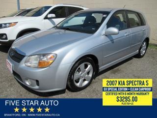 Used 2007 Kia Spectra5 SX *Clean Carproof* Certified w/ 6 Month Warranty for sale in Brantford, ON