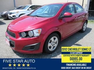 Used 2012 Chevrolet Sonic LT *Clean Carproof* Certified w/ 6 Month Warranty for sale in Brantford, ON