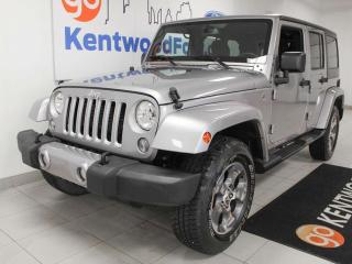 Used 2018 Jeep Wrangler JK Unlimited Sahara Trail rated 4WD in stylish silver for sale in Edmonton, AB