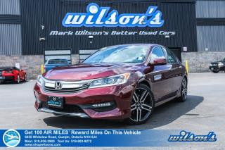 Used 2016 Honda Accord Sedan Sport w/Honda Sensing - Leather Trim, Sunroof, Blindspot Camera, Heated Seats, Alloys and more! for sale in Guelph, ON