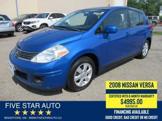 Used 2008 Nissan Versa SL - Certified w/ 6 Month Warranty for sale in Brantford, ON