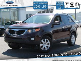 Used 2012 Kia Sorento LX AWD**SONAR RECUL*CRUISE*A/C*SIÈGES CHAUFFANTS** for sale in Victoriaville, QC