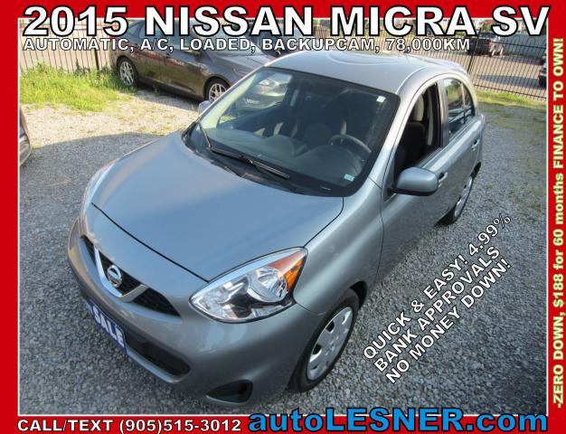 2015 Nissan Micra -ZERO DOWN, $188 for 60 months FINANCE TO OWN!